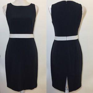 Anne Klein • navy white belt pencil sheath dress